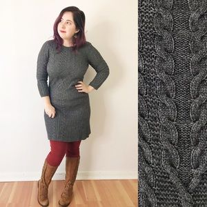 LOFT Cable Knit Gray Sweater Dress Cozy 3/4 Sleeve